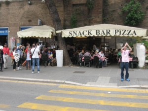 Snack bar next to the Metro entrance of the Colosseum