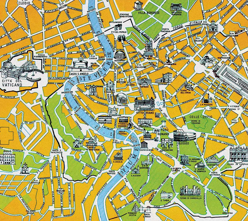 Rome Italy Map Of Attractions – Map Of Rome Showing Tourist Attractions