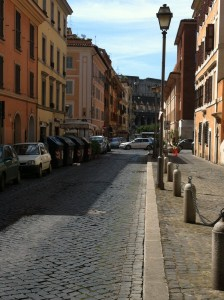 View walking out of the Hostaria Isidoro towards the Colosseum in Via di San Giovanni in Laterano