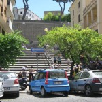 Stairs across the Vatican Museums which lead to an area with many places to eat