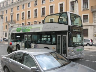 The green line hop on hop off bus in Rome