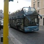 The open bus tour stops at the Vatican