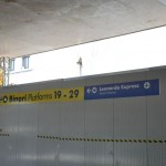Termini station - a sign on a wall for the fast train which will yake you to Fiumicino airport