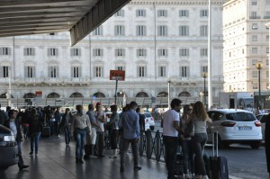 Termini station - Taxi stand is right to your left when you exit Piazza dei Cinquecento
