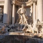 Massive statues of the Trevi fountain