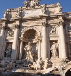 Many tourists visit the Trevi fountain every day