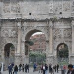 Arch of Constantine is situated between the Coliseum and the Roman Forum