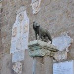 According to the legend, Romulus and Remus were cared by a she-wolf, who nurtured them