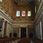 Church Santa Maria in Trastevere is full of columns inside