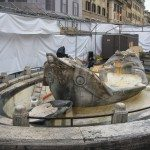 """Bernini """"Fountain of the Old Boat"""" is situated in the Piazza di Spagna at the base of the magnificent Spanish Steps."""
