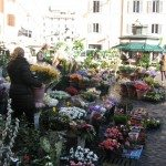 Campo de Fiori is now the spot of a lively market in the morning