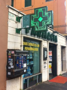 Stores with a green cross outside of them are pharmacies in Italy