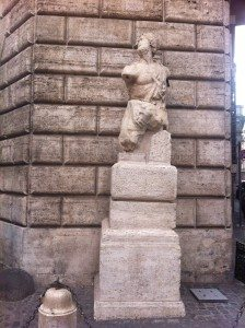 the talking statue of Pasquino not far away from Piazza Navona