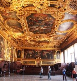 The Doge's Palace Ceiling is adorned with Gold Engravings
